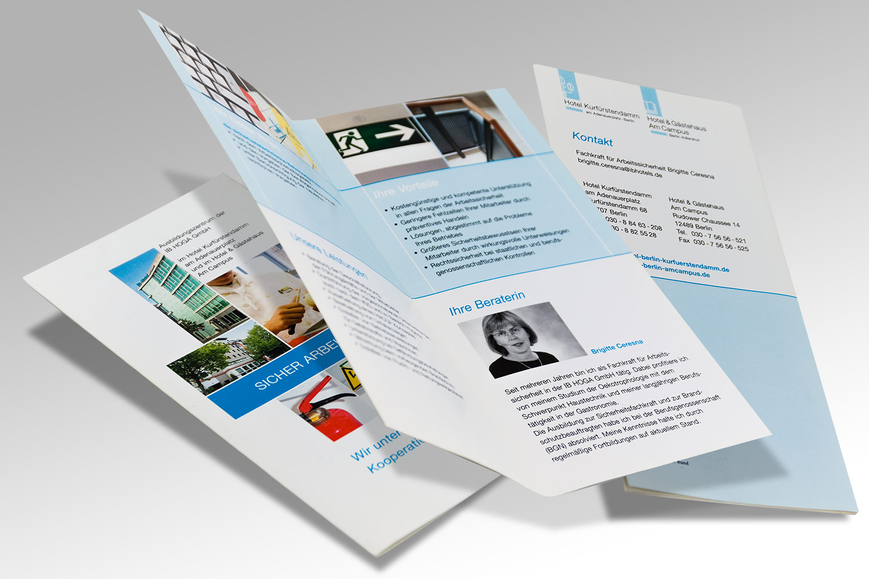 Diverse Drucksachen für ein Unternehmen aus dem Bereich Ausbildungshotel