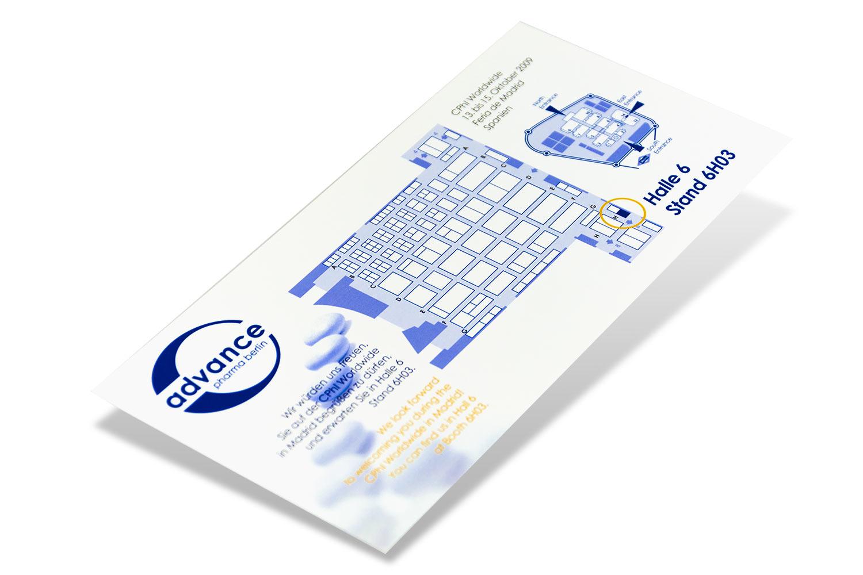 Messekarte für einen Pharmahersteller